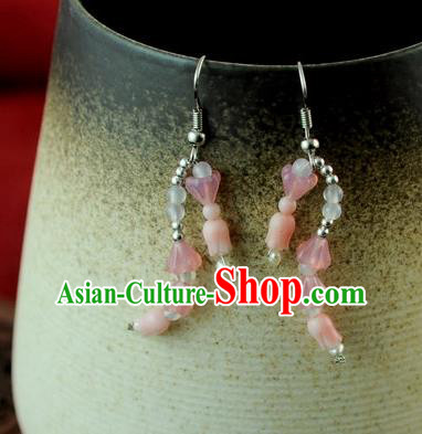 Chinese Traditional Jewelry Accessories Ancient Hanfu Pink Earrings for Women
