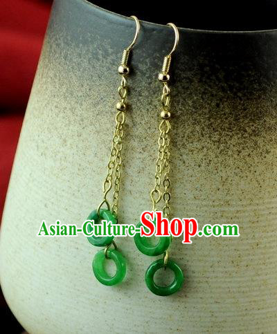 Chinese Traditional Jewelry Accessories Ancient Hanfu Tassel Green Earrings for Women