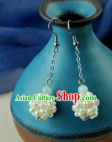 Chinese Traditional Jewelry Accessories Ancient Hanfu Pearls Earrings for Women