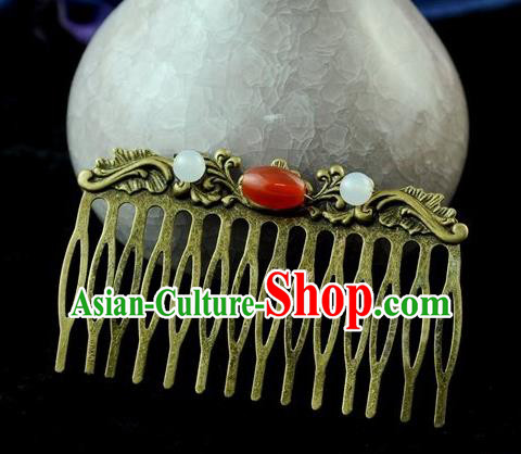 Chinese Traditional Agate Hair Comb Hair Accessories Ancient Palace Classical Hairpins for Women