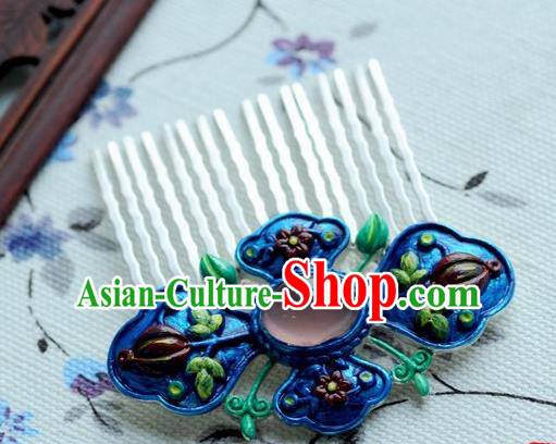 Chinese Traditional Blue Hair Comb Hair Accessories Ancient Palace Classical Hairpins for Women