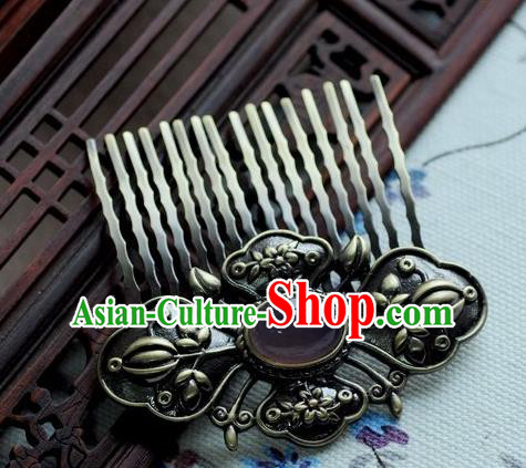 Chinese Traditional Black Hair Comb Hair Accessories Ancient Palace Classical Hairpins for Women