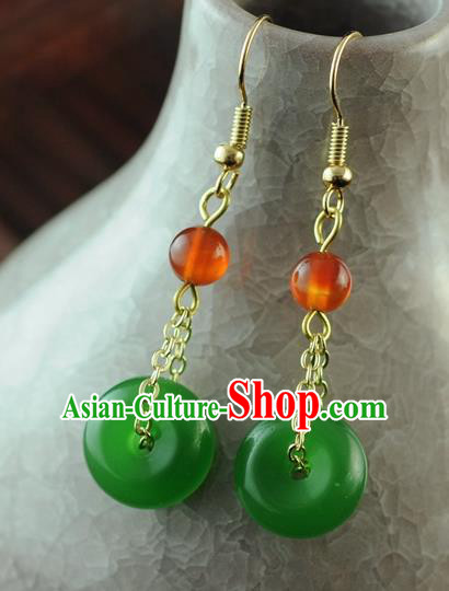 Chinese Traditional Jewelry Accessories Ancient Hanfu Green Jade Earrings for Women