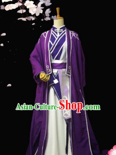 Chinese Traditional Cosplay Prince Purple Costumes Ancient Swordsman Clothing for Men