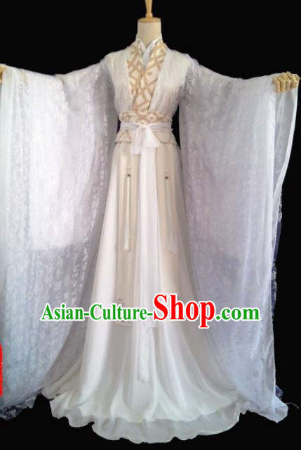 Chinese Traditional Cosplay Prince White Costumes Ancient Swordsman Clothing for Men