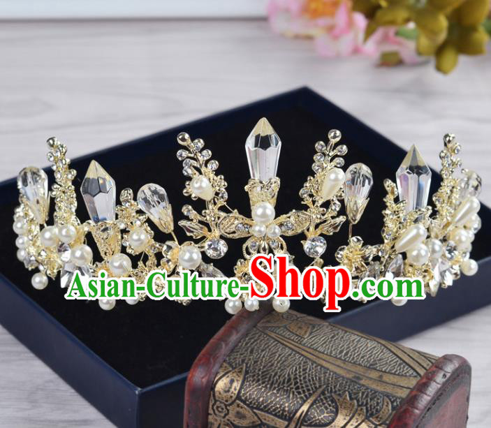 Handmade Bride Crystal Hair Accessories Wedding Baroque Pearls Royal Crown for Women