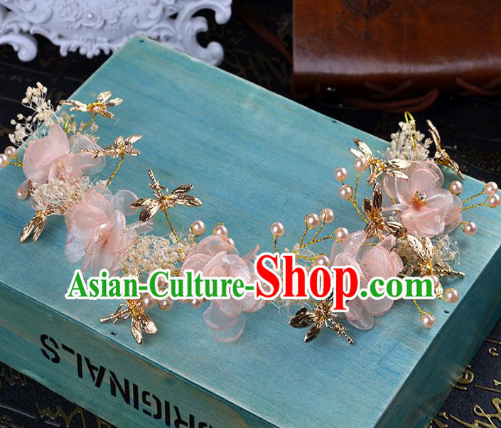 Top Grade Wedding Hair Accessories Bride Pink Flowers Hair Clasp for Women