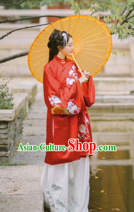 Chinese Ming Dynasty Princess Red Hanfu Dress Traditional Ancient Nobility Lady Embroidered Costumes for Women