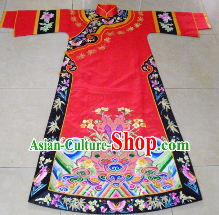 Chinese Traditional Ancient Qing Dynasty Empress Embroidered Wedding Costumes for Women