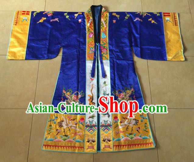 Chinese Traditional Priest Frock Costume Ancient Embroidered Blue Robe for Men