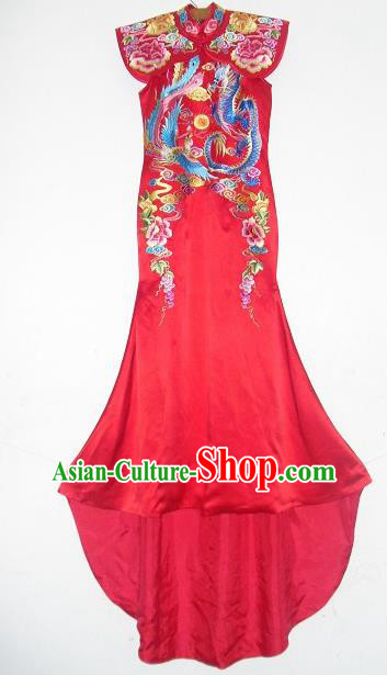 Chinese Traditional Wedding Dresses Ancient Bride Embroidered Costumes Xiuhe Suit for Women