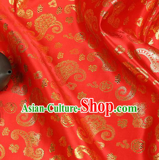 Red Brocade Chinese Traditional Silk Fabric Material Classical Dragon Pattern Design Satin Drapery