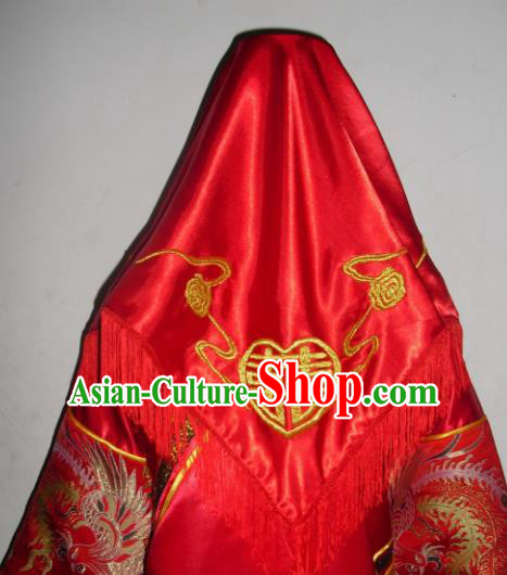 Chinese Traditional Bride Headdress Ancient Wedding Embroidered Red Veil Curtain for Women