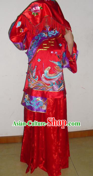 Chinese Traditional Bride Red Silk Xiuhe Suit Ancient Embroidered Wedding Costumes for Women