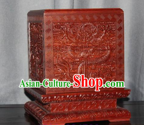 Chinese Ancient Films Props Wood Carving Dragon Imperial Jade Seal Box