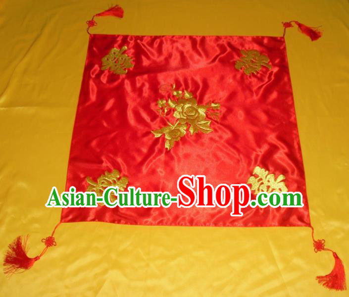 Chinese Traditional Wedding Headdress Ancient Bride Embroidered Red Veil Curtain for Women