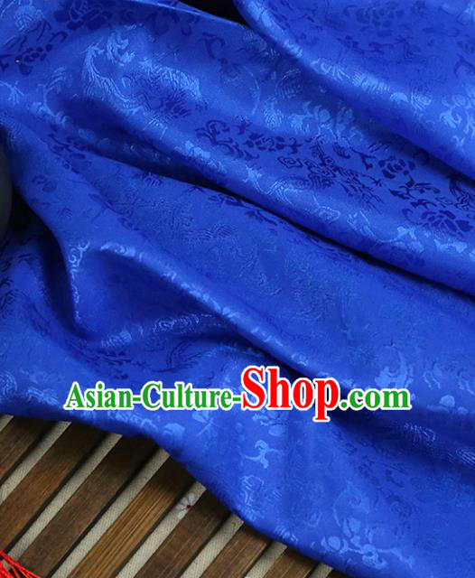 Blue Brocade Chinese Traditional Silk Fabric Material Classical Peony Pattern Design Satin Drapery