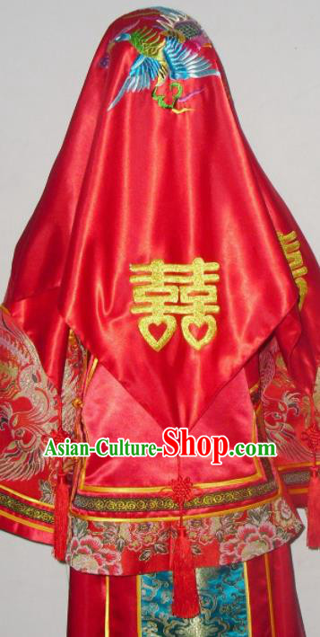 Chinese Traditional Wedding Headdress Ancient Bride Embroidered Peony Red Veil Curtain for Women