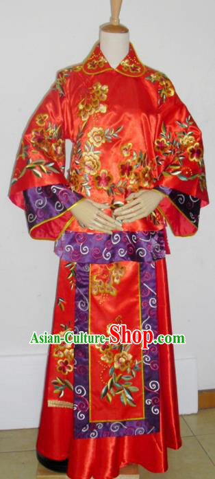 Chinese Traditional Red Wedding Dresses Ancient Bride Embroidered Costumes Xiuhe Suit for Women