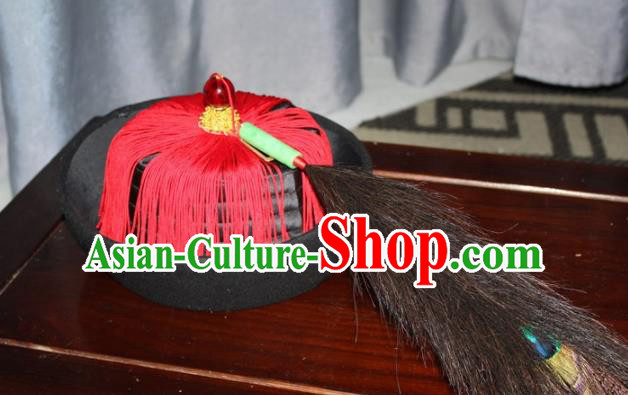 Chinese Traditional Qing Dynasty Minister Headdress Ancient Manchu Chancellor Hat for Men