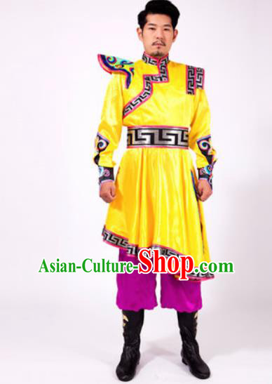 Chinese Traditional Folk Dance Yellow Costumes Mongolian Minority Dance Clothing for Men