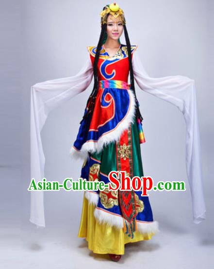 Chinese Traditional Zang Ethnic Costumes Tibetan Minority Folk Dance Dress for Women