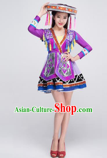 Chinese Traditional Ethnic Costumes Zhuang Minority Folk Dance Purple Dress for Women
