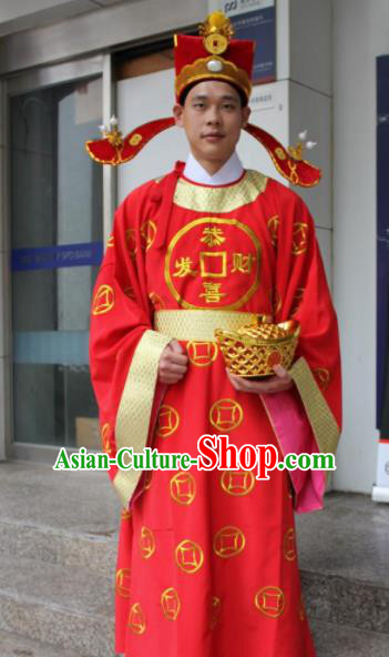 Chinese Traditional God of Wealth Costume Ancient God of Fortune Embroidered Red Robe for Men