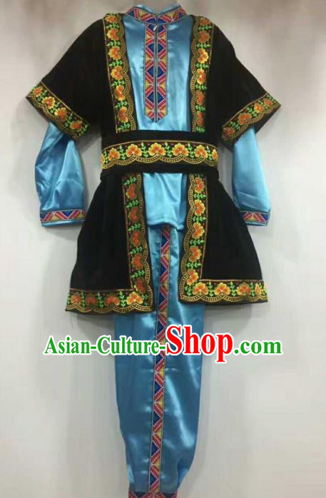 Chinese Traditional Folk Dance Blue Costumes Uigurian Minority Dance Clothing for Men
