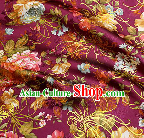 Chinese Traditional Amaranth Brocade Tang Suit Silk Fabric Material Classical Peony Pattern Design Satin Drapery