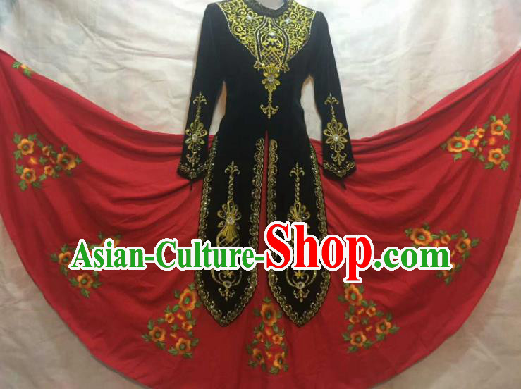 Chinese Traditional Uigurian Nationality Ethnic Costumes Xinjiang Uyghur Minority Folk Dance Black Dress for Women