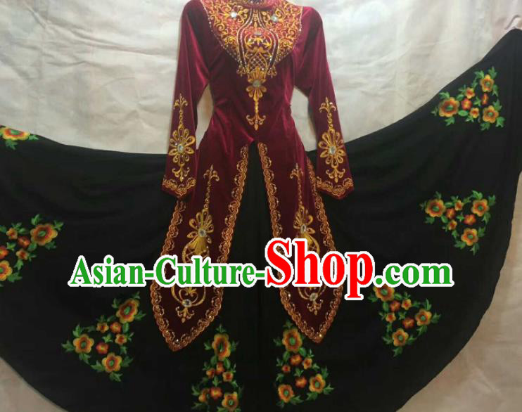 Chinese Traditional Uigurian Nationality Ethnic Costumes Xinjiang Uyghur Minority Folk Dance Wine Red Dress for Women