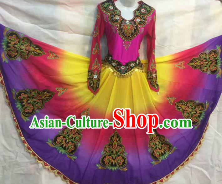 Chinese Traditional Uigurian Nationality Ethnic Costumes Xinjiang Uyghur Folk Dance Purple Dress for Women