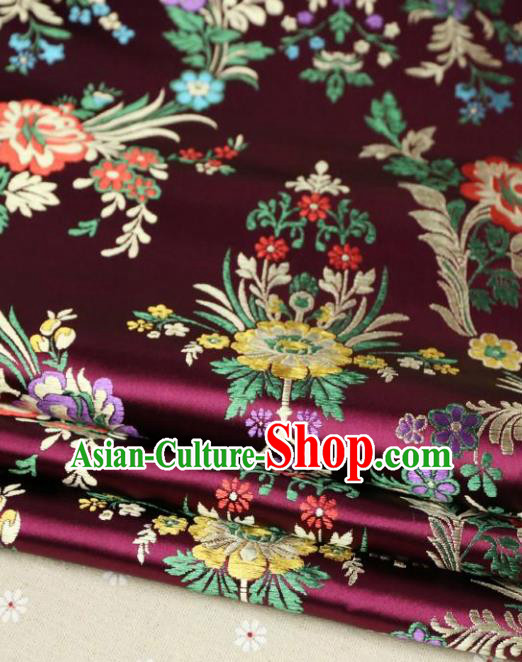 Asian Chinese Traditional Fabric Material Qipao Wine Red Brocade Classical Begonia Pattern Design Satin Drapery