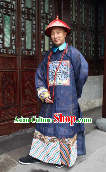 Chinese Traditional Ancient Qing Dynasty Manchu Civil Official Embroidered Costumes and Hat for Men