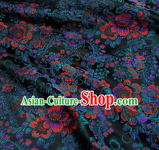 Chinese Traditional Black Brocade Cheongsam Silk Fabric Material Classical Pattern Design Satin Drapery