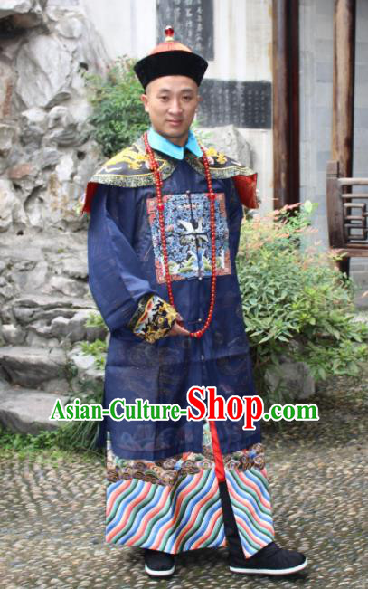 Chinese Traditional Ancient Qing Dynasty Manchu Grand Minister Embroidered Costumes and Hat for Men