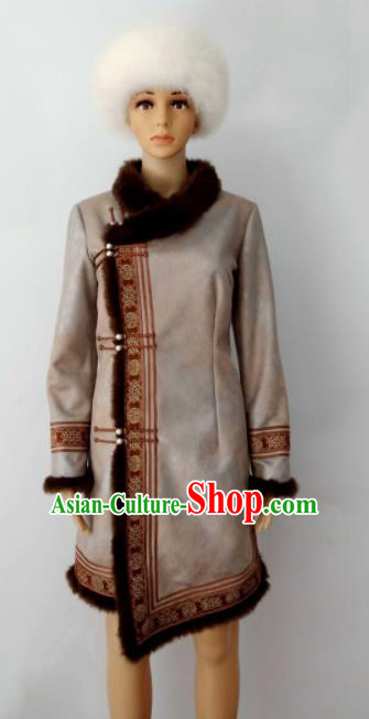 Chinese Traditional Ethnic Costumes Mongolian Minority Nationality Robe for Women