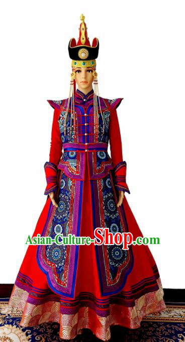 Chinese Traditional Ethnic Costumes Mongolian Minority Nationality Red Dress for Women