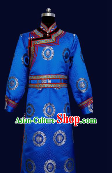Chinese Traditional Mongol Minority Nationality Costume Blue Mongolian Robe for Men