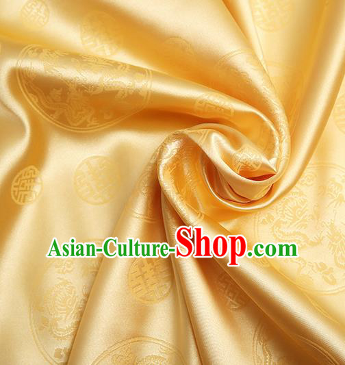 Chinese Traditional Brocade Cheongsam Golden Silk Fabric Material Classical Pattern Design Satin Drapery