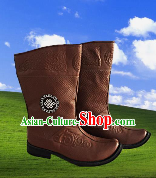 Chinese Traditional Ethnic Shoes Mongolian Minority Nationality Leather Boots for Men