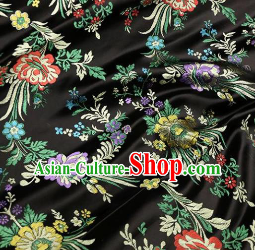 Asian Chinese Traditional Fabric Material Qipao Black Brocade Classical Begonia Pattern Design Satin Drapery