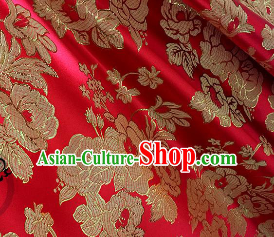 Chinese Traditional Red Brocade Classical Peony Pattern Design Silk Fabric Material Satin Drapery
