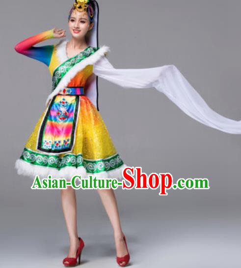 Chinese Traditional Ethnic Costumes Tibetan Minority Nationality Yellow Dress for Women