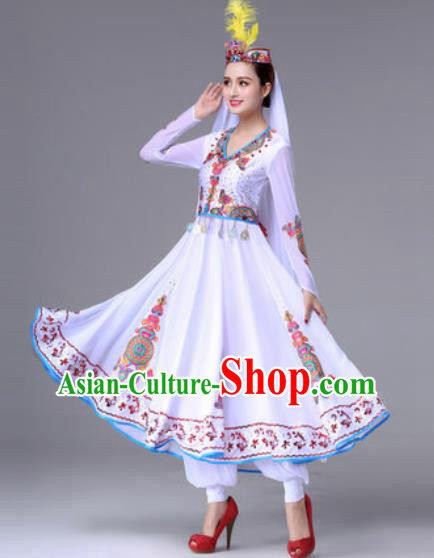 Chinese Traditional Ethnic Costumes Uyghur Minority Nationality White Dress for Women