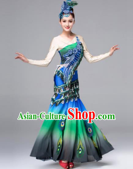 Traditional Chinese Peacock Dance Green Dress Stage Performance Classical Dance Costumes for Women