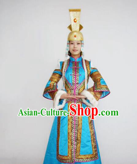 Chinese Traditional Bride Ethnic Costumes Mongolian Minority Nationality Blue Dress for Women