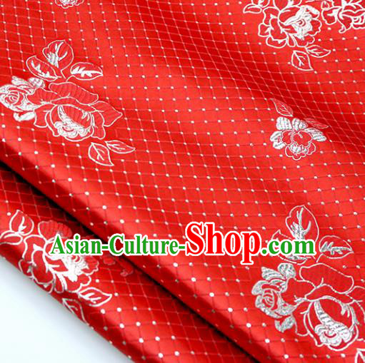 Chinese Traditional Red Brocade Classical Roses Pattern Design Silk Fabric Material Satin Drapery