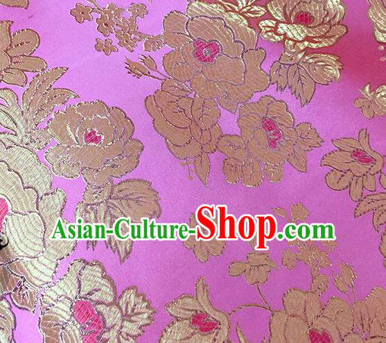 Chinese Traditional Rosy Brocade Classical Peony Pattern Design Silk Fabric Material Satin Drapery